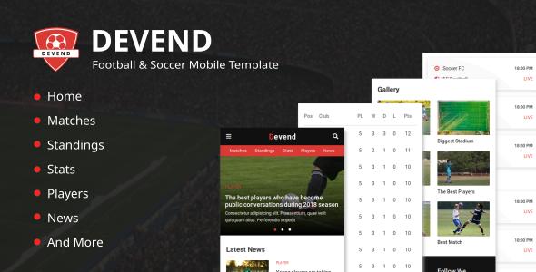 Devend - Football & Soccer Mobile Template            TFx Cavan Jaden