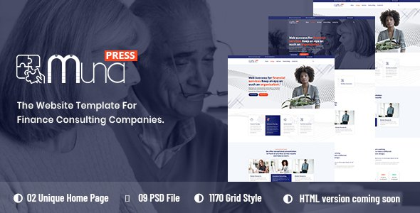 Muna - Finance Consulting PSD Template            TFx Tracy Vespasian