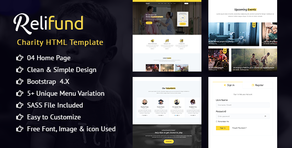 ReliFund - NonProfit Fundraising Charity HTML Template            TFx Denzil Heath