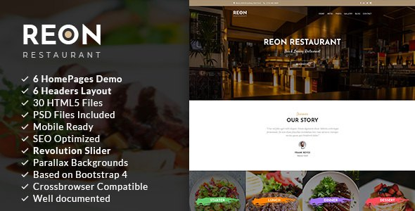 Reon | Restaurant HTML5 Template            TFx Eric Radcliff