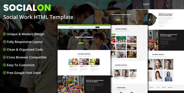 Socialon - Social Work Activity HTML Template            TFx Teddy Boyce