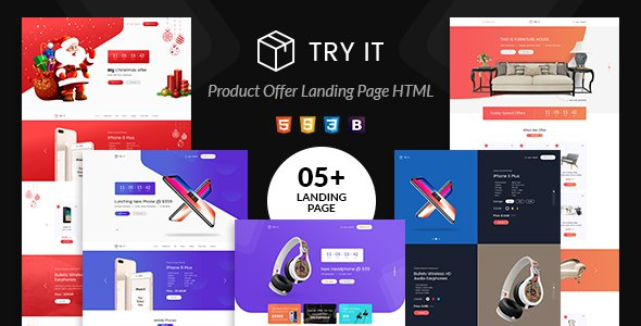 Tryit - Product Offer Landing Page HTML Template      TFx Carlyle Goodwin
