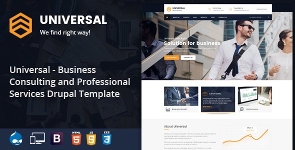 Universal - Business, Consulting and Professional Services Drupal 8.5 Theme            TFx Zac Garfield