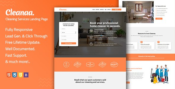 Cleanaa — Cleaning Services Landing Page Template        TFx Elton Rickey