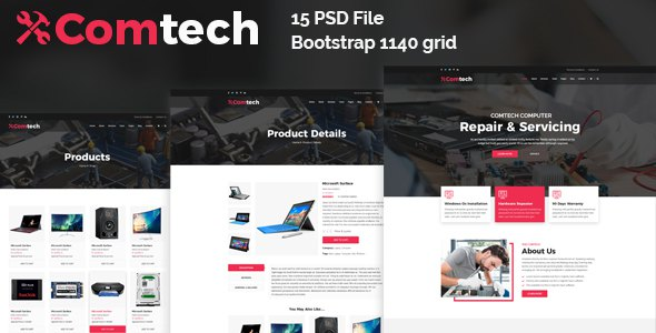 ComTech - Computer & Repair Shop Business PSD Template        TFx Eustace Steph