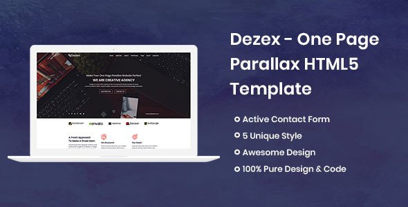 Dezex - One Page Parallax        TFx Kimball Merrill
