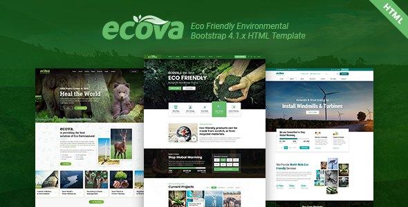 Ecova - Eco Environmental Bootstrap 4 Template        TFx Katsu Nurul