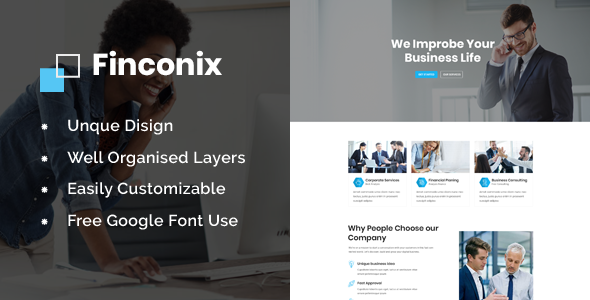 Finconix - Corporate & Financial PSD Template        TFx Katashi Brodie