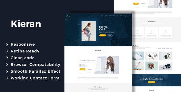 Kieran - One page Portfolio HTML Template        TFx Swithin Willoughby