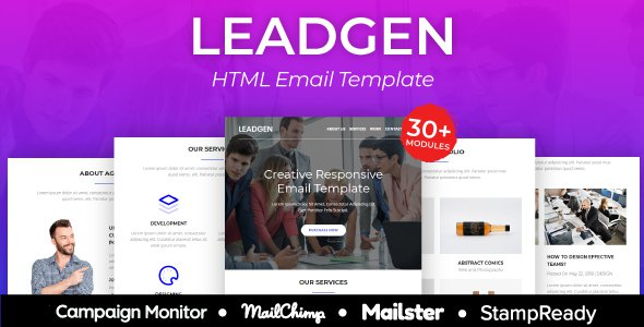 LeadGen - Multipurpose Responsive Email Template 30+ Modules - StampReady + Mailster & Mailchimp        TFx Bentley Dolph
