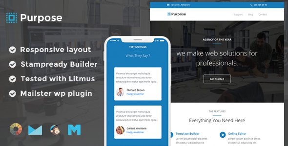 Purpose Responsive Email Template + Stampready Builder + Mailchimp + Mailster        TFx Stanley Alpha