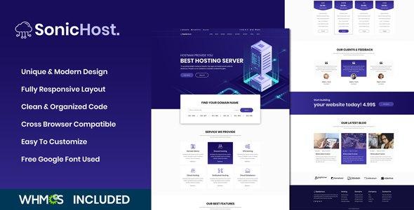 SonicHost - Web Hosting HTML5 Hosting Business Template        TFx Bud Alphonzo