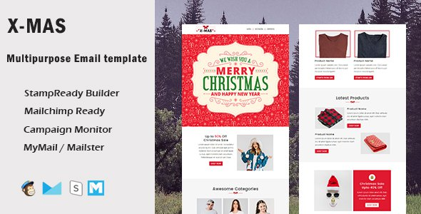 X-Mas - Multipurpose Responsive Email Template With Mailchimp Editor & Online StampReady Builder Acc        TFx Gervase Denzel