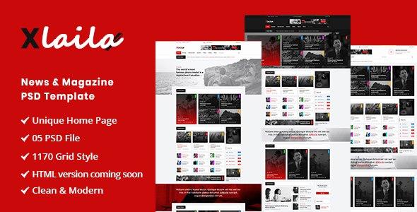 Xlaila - Magazine & Newspaper PSD Template        TFx Haywood Xavier