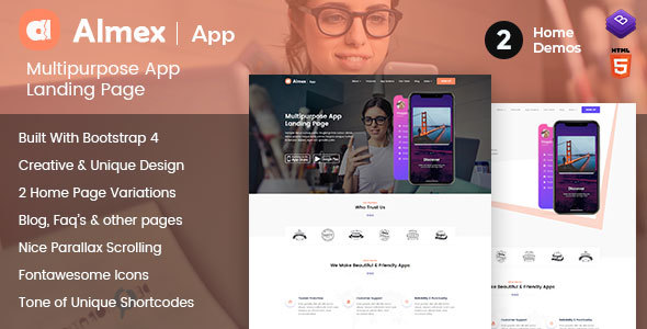 Almex : One Page Responsive HTML5 Parallax Business Landing Page        TFx Wystan Giles