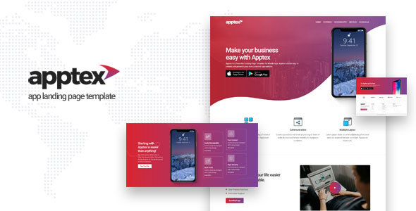 Apptex   App Landing Page Template        TFx Patton Astor