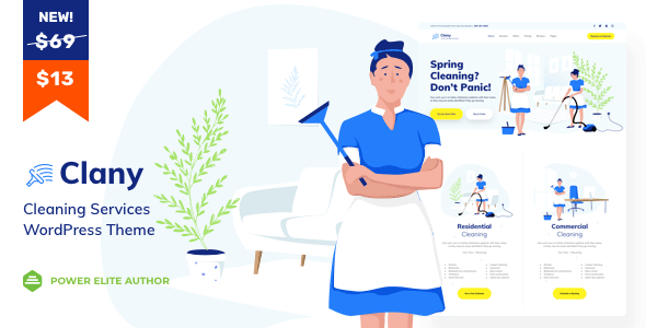Clany - Cleaning Services WordPress        TFx Kaleb Bronte