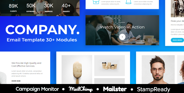 Company - Agency Responsive Email Template 30+ Modules - StampReady + Mailster & Mailchimp Editor        TFx Perry Nazar