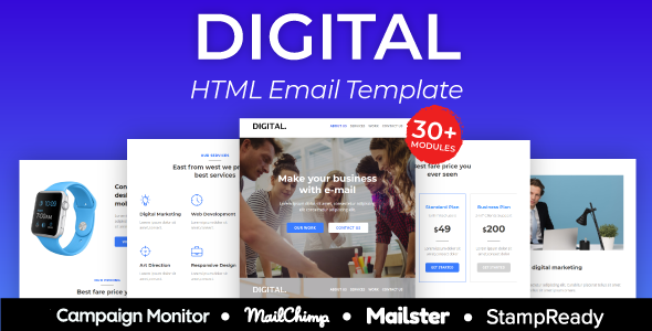 Digital Agency Responsive Email Template 30+ Modules - StampReady + Mailster & Mailchimp Editor        TFx Blythe Yolotli