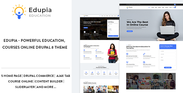 Edupia - Powerful Education, Courses Online Drupal 8 Theme        TFx Landen Kent