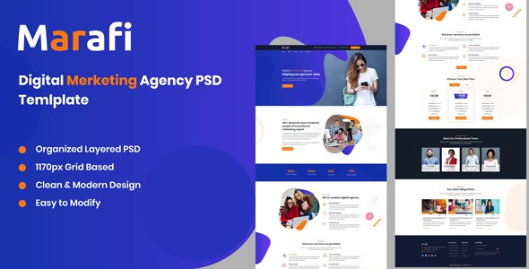 Marafi - Digital Marketing Agency PSD Template        TFx Biff Jurou