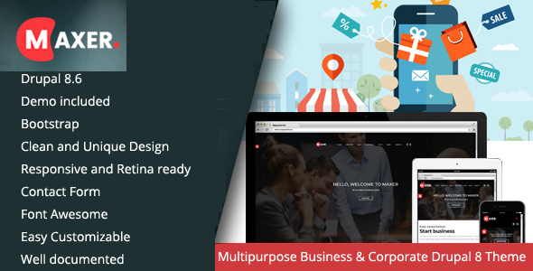 Maxer - Multipurpose Business & Corporate Drupal 8.6 Theme        TFx Gladwyn Vahan
