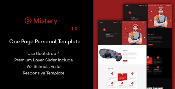 Mistery - One Page Personal Business Template        TFx Confucius Antinanco