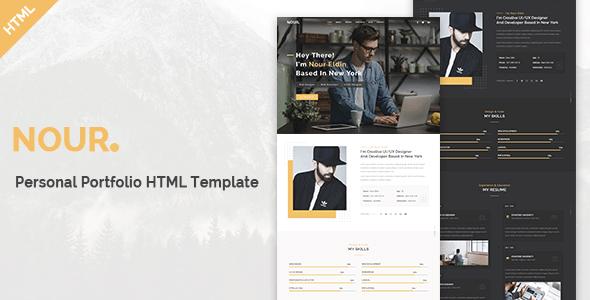 Nour - Personal Portfolio HTML Template        TFx Alphonsus Bryn