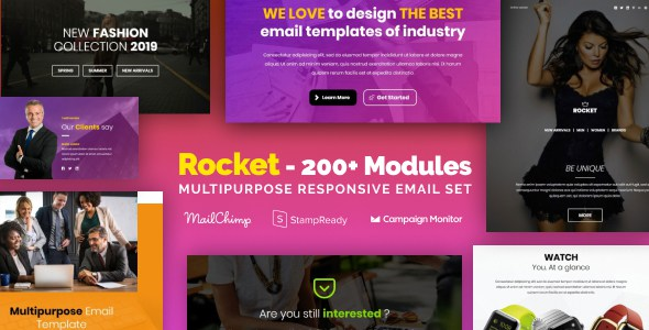 Rocket - Responsive Email with 200+ Modules + MailChimp Editor + StampReady + Online Builder        TFx Dane Jimi