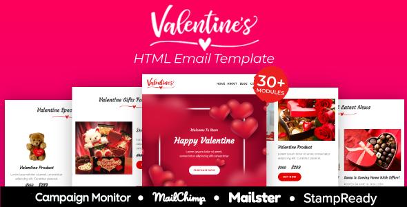 Valentine - Responsive Email Template 30+ Modules - StampReady + Mailster & Mailchimp        TFx Daren Dashiell