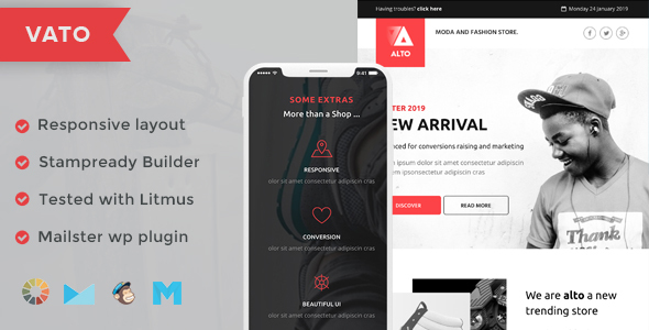 Vato Responsive Email Template + Stampready Builder + Mailchimp + Mailster        TFx Brooks Beverly