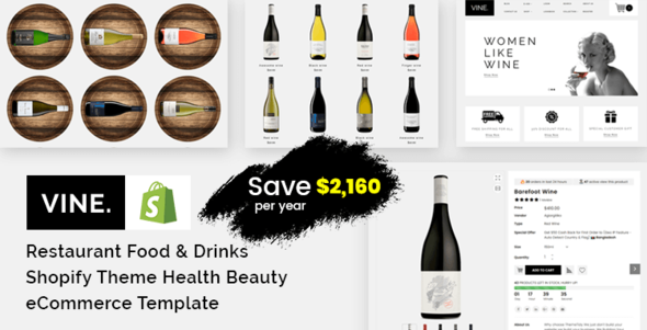 Vine - Restaurant Food & Drinks Shopify Theme Health Beauty eCommerce Template        TFx Luther Lewin