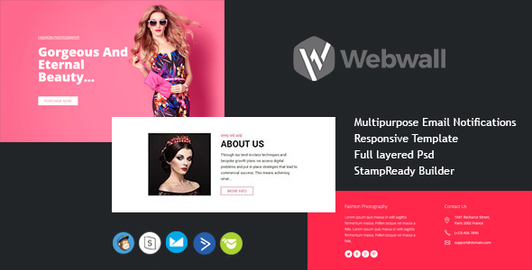 Webwall Newsletter Template with StampReady Online Builder Access        TFx Elmer Shaun