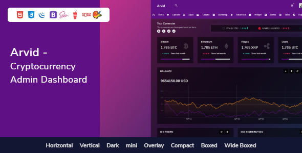 Arvid - Bootstrap Cryptocurrency Admin Dashboard HTML Template        TFx Laurie Gervase