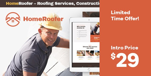 HomeRoofer | Roofing Company Services & Construction WordPress Theme        TFx Kelley Kichiro