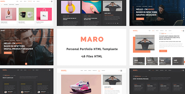 Maro - Personal Portfolio HTML Template        TFx Skylar Miles