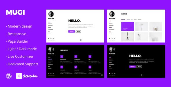 Mugi - Personal Portfolio & Resume WordPress Theme        TFx Benji Avag