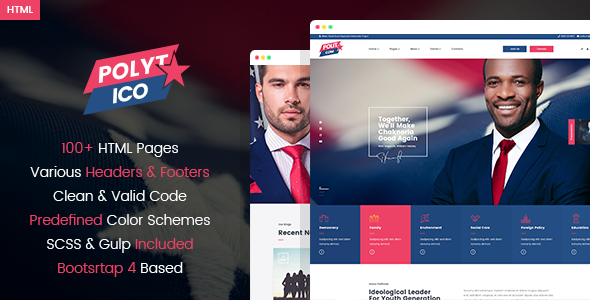 Polytico - Multipurpose Political And NGO HTML Template        TFx Jarvis Derek