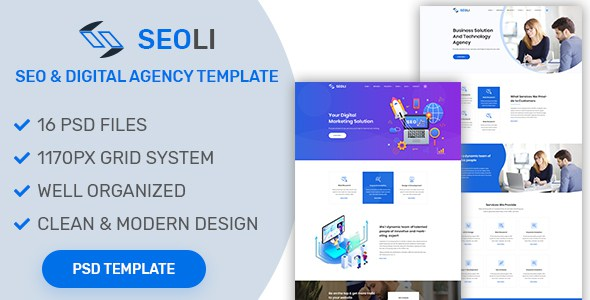SEOLI- SEO and Digital Agency PSD Template        TFx Dyson Kazuo