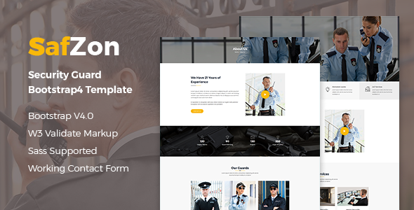SafZon - Security Guard Bootstrap 4 Template        TFx Khachatur Emerson