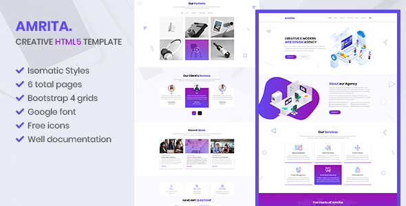 Amrita - Creative Agency Bootstrap HTML Template        TFx Rastus Asuka
