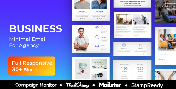 Business - Multipurpose Responsive Email Template + Mailster + StampReady Builder + Mailchimp Editor        TFx Gallagher Milton
