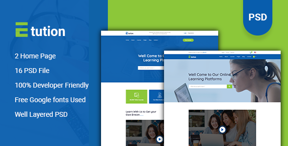 Etution - LMS & Online Learning PSD Template        TFx Frederick Daichi