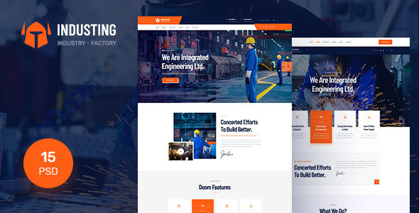 Industing - Industry & Factory Business PSD Template        TFx Brayden Gray