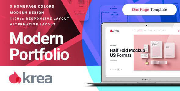 Krea - Modern Portfolio One Page Joomla Template        TFx Dane Adrian
