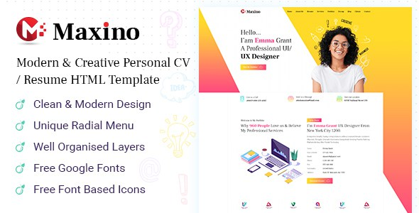 Maxino - Personal Resume HTML5 Template        TFx Lionel Rudolph