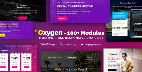 Oxygen - Responsive Email with 100+ Modules + MailChimp Editor + StampReady + Online Builder        TFx Issy Lee