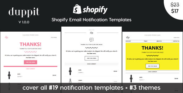 duppit - Notification Email Templates for Shopify Themes        TFx Gervase Sachie
