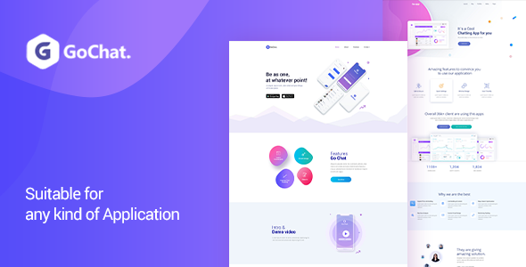 GoChat - PSD App Landing Page        TFx Hollis Quinten