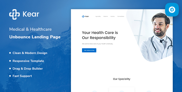 Kear - Medical & Healthcare Unbounce Landing Page Template        TFx Sky Eben
